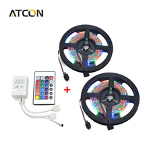 5M Or 10M (2*5M) LED Strip light 2835 / 3528 SMD RGB LED light Tape Ribbon DC12V 60 LEDs/M With 24 Keys IR Remote Controller Kit