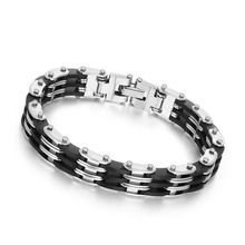 Punk Style Stainless Steel Two Tone Mens Bracelet Link Chain Biker Bicycle Bracelets pulseira masculina Men Jewelry BA101341(China)