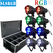 8PCS/LOT&flight case Mini led par cans 7pcs x 12W Led Effect Light Led Par36 Light 4IN1 RGBW Big Lens Led Par Can Aluminum Body