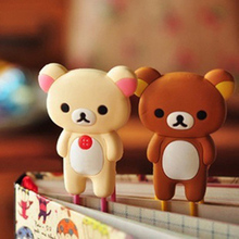P35 1PC Kawaii Cute Rilakkuma Rabbit Silicone Paper Clip Bookmarks Book Marker of Page Student Stationery School Office Supply(China)