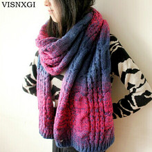 VISNXGI 2017 Cable Knit Scarves For Women 210*40 CM Gradient Colors Scarf Bufandas Wool Winter Thicken Wraps Femme Warmer Shawls(China)