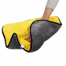 Super Soft Microfiber Absorbent Towel Car Home Kitchen Washing Clean Cloth Yellow Car Absorbent Towel Washing Clean Cloth(China)