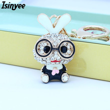 ISINYEE Fashion Crystal Bunny Rabbit Keychain For Women Cars Bags Rhinestone Cute Keyrings Key Chains Holder Jewelry Accessories