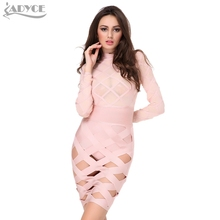 2017 Women Summer Evening Party Dress Yellow Long Sleeves Mesh Sexy Celebrity Runway Bodycon Bandage Dress Club Wear Vestidos