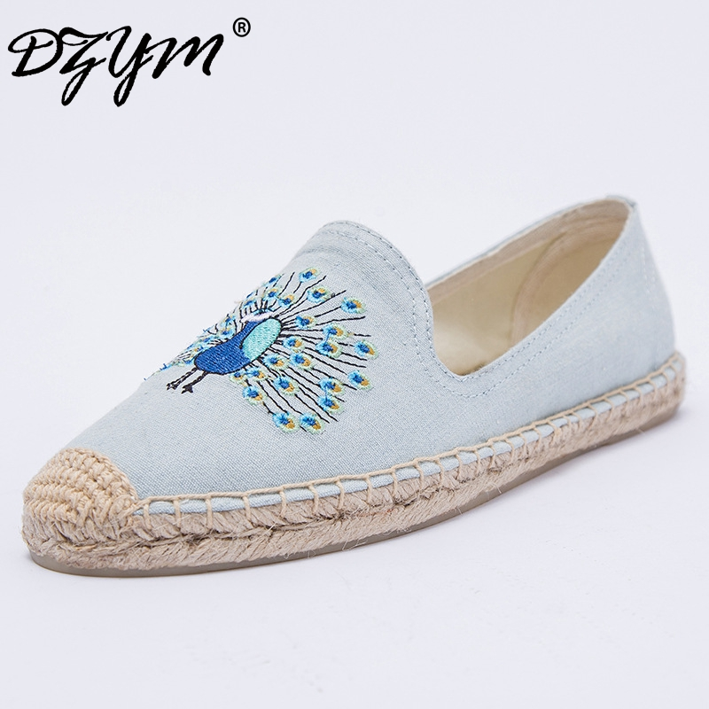 DZYM 2018 Spring High Quality Women Flats Embroidered Flamingo Wink Canvas Espadrilles Smoking Sneakers Platform Zapatos Mujer<br>