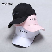 YanMan 2017 New Adult Baseball Cap Fashion YOUTH Letter Snapback Caps Black White Pink Hat For Men Women casquette homme gorras