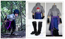 Naruto Sasuke Uchiha Cosplay Costume Coat pants skirt rope handcovers shoes Tailor made