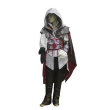 Children's assassins creed II Ezio Kids light gray,Black 2colors costume cosplay for boys Custom Made Uniform Suit Halloween Men