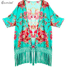Gamiss Summer Women Blouse Cover Ups Print Sexy Cover-ups Beach Blouse Bikini Cover Up Bathing Suit Cover Up Kimono Beach Wear