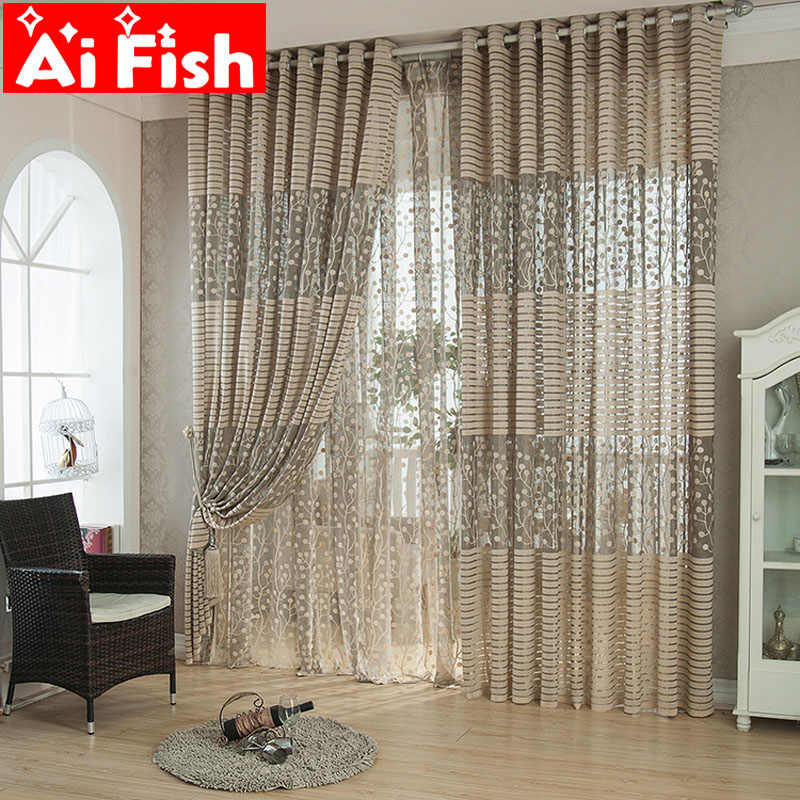 Brown / White Breathable Mesh Jacquard Curtain Fabric Tulle Balcony Window Curtains For Living Room Kitchen Drapes AP094 -30