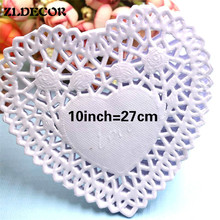 SS16047d 10inch Heart Shape Lace Flower Paper Doilies Placemat Crafts for DIY Scrapbooking/Card Making/Wedding Table Decoration(China)