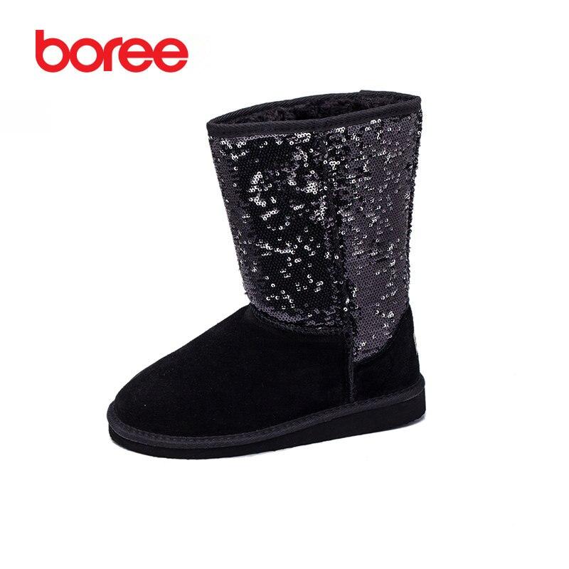 Boree Women Boots Snow Boots Cotton-padded Platform Fashion Mid-Calf 100%Fur Boot Winter Plush Bota Feminina Zapatillas Mujer 33<br>