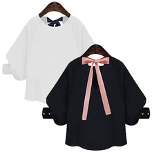 New Autumn Women Tops Bowknot Chiffon Blouses Plus Size Casual Navy White Shirt Batwing Sleeves Shirts for Womens Blusas Female