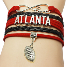 Infinity Love Atlanta Baseball Team Bracelets Leather Suede Rope Charm Customize Friendship Wristband Women Bangle