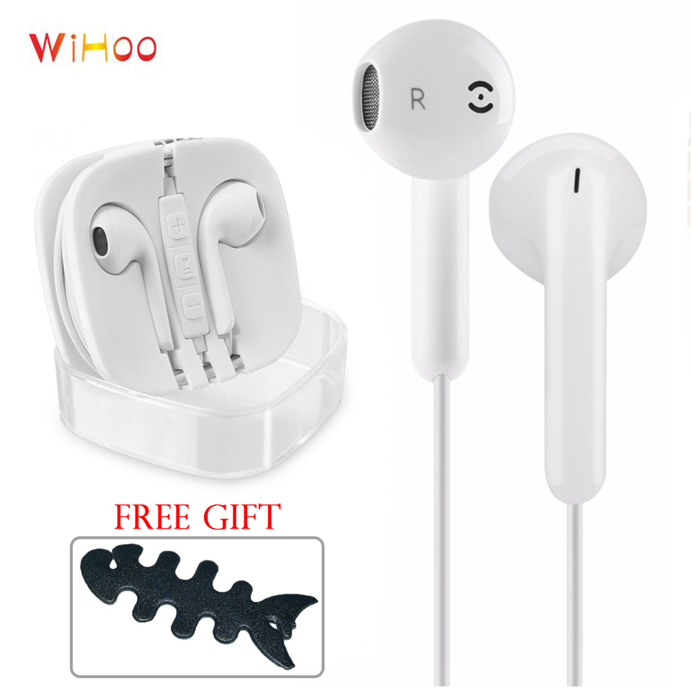WiHoo Wired In-Ear Earphones Earbuds For Huawei Xiaomi iPhone Samsung S4 S5 S6 S7 S8(China)