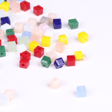 Hot Fashion 100Pcs/lot Craft Supplies 3mm Square Faceted Crystal Beads Glass Cube Loose Chinese Beading Chunky Necklace Beads(China)