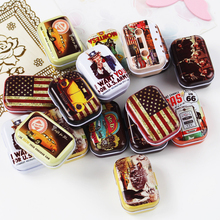 European Style Vintage Mini Tin Box 8 Piece/Lot Mac Cosmetics Organizer Case Small Metal Tea Pill Candy Storage Container