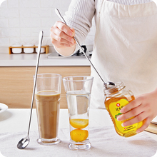 1pc Stainless Steel Long Handle Stir Spoon Creative Long Handle Spoon Korean Coffee Spoon Ice Cream Spoon Dessert(China)
