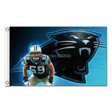 Black Reggie White Carolina Panthers Flags Football Team 90X 150 Cm Banners Super Bowl Champions Banner Polyester Panther Banner(China)