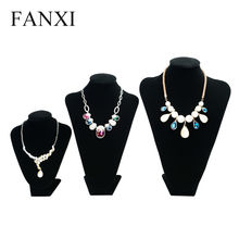 FANXI Black Long Plush Necklace Display Stand Bust Custom Necklace/Pendant Jewelry Display Showcase Exhibitor(China)