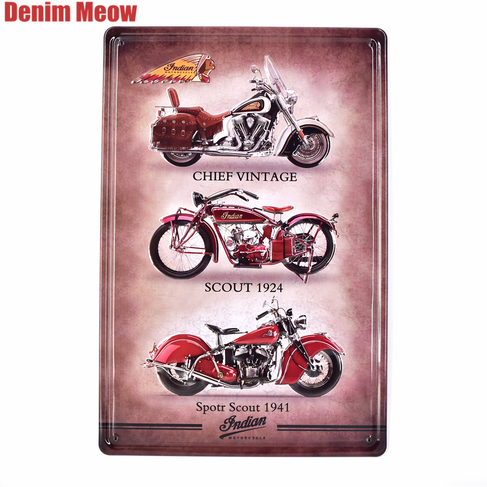 Indian Motorcycle Vintage Embossed Metal Tin Signs Home Bar Garage Pub Decorative Plates Wall Stickers Retro Iron Art Poster SS2