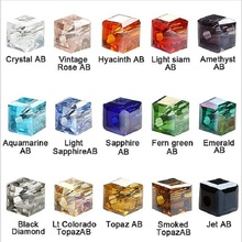 100pcs/lot 4mm AB Color Crystal Beads For Jewelry Making Square Cube Beads DIY Jewelry Findings Fit Bracelet Necklace