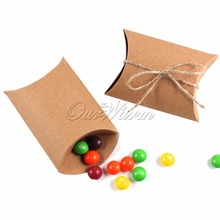 20pcs Kraft Paper Candy Box Cute Pillow Gift Bag Candy Boxes Wedding Favors and Gifts Box for Guests High Quality Cheap Price