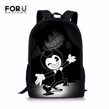 FORUDESIGNS HOT 2018 Cartoon Children Game Backpacks Bendy and The Ink Machine School Backpack for Teenage Boys School Bags Bag(China)
