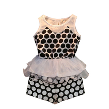 The new summer Han edition of children's clothing collect waist wave children suit Girls two piece
