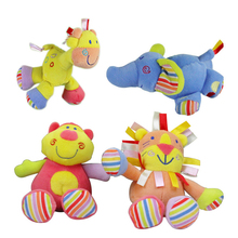 Small and lovely Baby Toys Multifunction Baby Rattles & Mobiles Deer&hippopotamus&elephant&lion Hand dolls Stroller&crib pendant(China)
