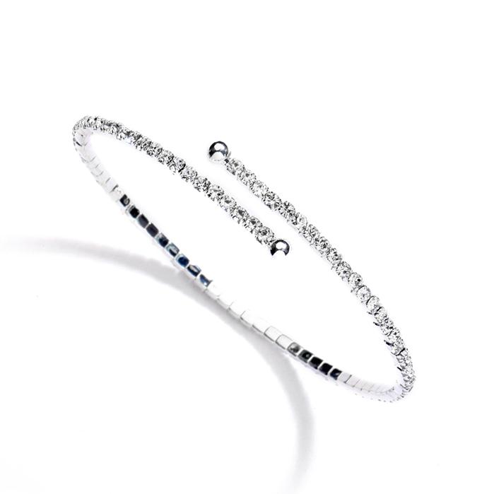 Delicate Rhinestone Coil Bracelet