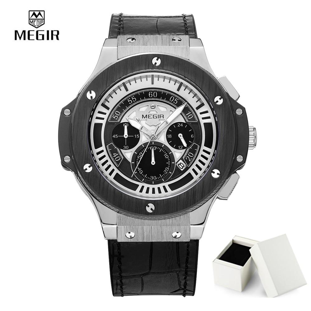 Megir Gold Chronograph Men Watches Man Clock Luxury Brand Quartz-Watch Men Male leather Sports Military Watch Reloj Hombre 2035<br>