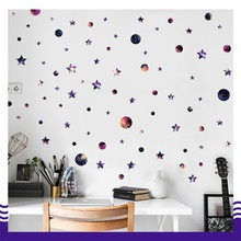 Creative Night sky Circle Planet Stars DIY Removable Wall Stickers Living Room Kids Room Backdrop Home Decor Wall Decal(China)
