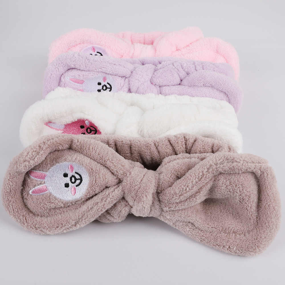 Headwear Big Rabbit Ear Soft Towel Hair Band Wrap Headband For Bath Spa  Make Up Women 8a2f914c20b5