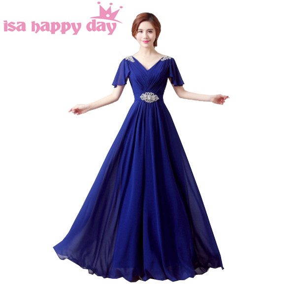 sexy ladies lace up hot pink and blue chiffon top prom gown occasion dresses 2019 beaded dress cap sleeve in plus size H3492