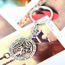 Trust Love Dream Hope Hollow Out Keyring Women Gifts Key Ring Life Tree Pendant Charm Keychain Jewelry