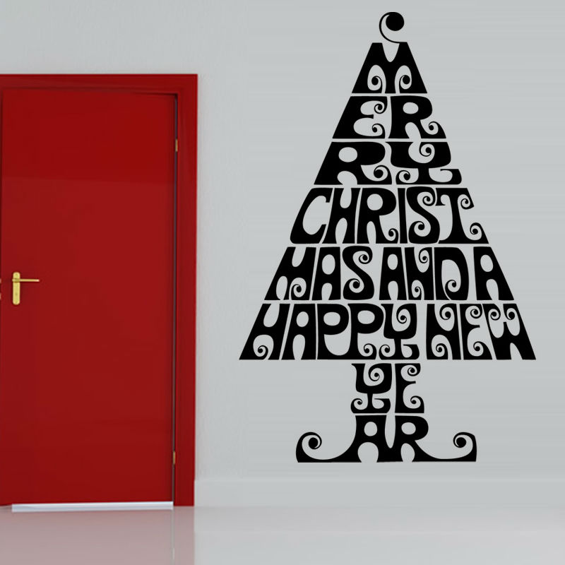 Merry Christmas And A Happy New Year Living Room Wall Decor Sticker Creative Home Decor Letters Christmas Tree Wall Decal(China (Mainland))