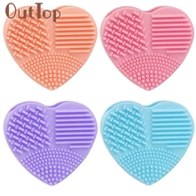 makeup brushes1PC Silicone Fashion Heart Shape Cleaning Glove Makeup Washing Brush Scrubber Tool Cleaners Levert Dropship