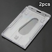 New 2pcs 10x6cm Clear Vertical Hard Plastic Badge Holder Double ID Credit Multi Card(China)