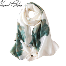 2017 Spring and Fall Women Printing Big Floral Pure Twill Silk Scarf 180*90cm SFN064