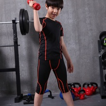 2017 compression 3/4 kids running tights shirts set boy basketball jersey survetement football training set fitness gym leggings