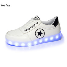 Yeafey Krasovki Men Luminous Illuminated Glowing Sneakers Women's Sport Led Shoes for Boys Girls Children Kids Shoes with Light