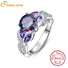 BONLAVIE 925 Sterling Silver Mystical Rainbow Topaz Rings with Sapphire Accent Stone Fashion Design Engagement Wedding Band Ring(China)
