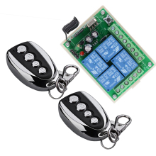 New DC 12V 10A 4 Channels Learning Code Function RF Wireless Remote Control Switch Systems Receiver Metal Transmitter