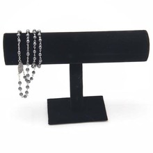 vintage 1pc Black Velvet Bracelet Chain Watch T-Bar Rack Jewelry Hard Display Stand Holder