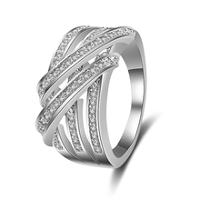 UILZ Luxury Weave Shape Micro Inlay Cubic Zirconia Finger Rings Men Design With Sliver Color For Party JMRP177