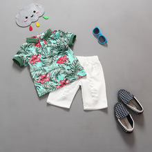 2017 Fashion Boys Clothing set Baby boys girls t shirts+shorts pants sports suit kids clothes summer wear 2T 3T 4T 5T 6T(China)