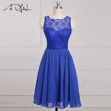 ADLN Stock Cheap Short Bridesmaid Dresses Blue Lace A-line Wedding Guest Gown 2017 Chiffon Maid of Honor Dress(China)