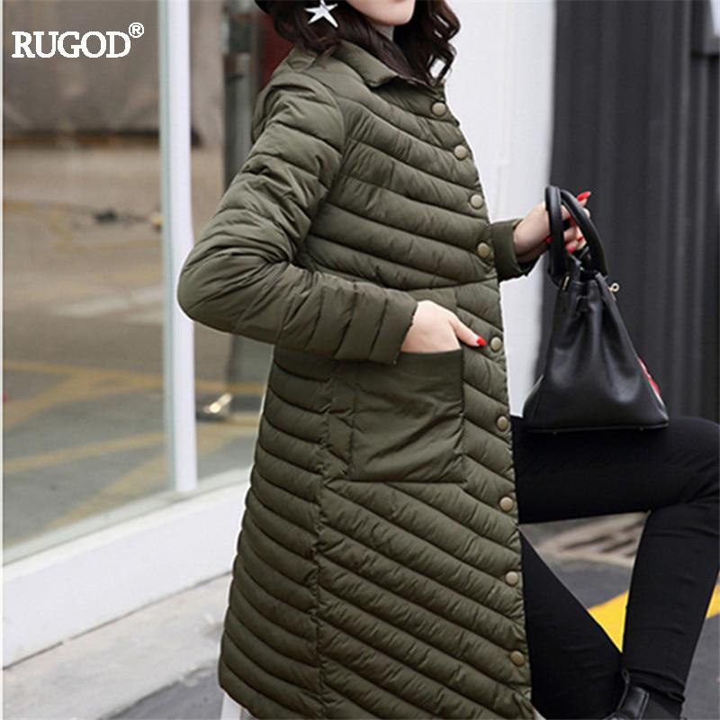 Rugod 2017 New Slim Long Winter Coat Women Thin Warm Striped Polyester Fiber Padded Winter Jacket Female Solid Pocket ParkasÎäåæäà è àêñåññóàðû<br><br>