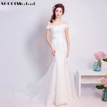 Buy SOCCI 2017 Vintage Mermaid Wedding Dresses Lace Bride vestido de noiva Formal Party Dress Bow Belt Pearls Beading Bridal Gowns for $101.40 in AliExpress store